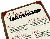 A Menu for Leadership letting you choose the top or ideal qualities you want in your next leader or