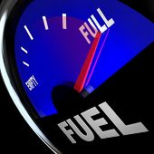 The needle pointing to Full on a fuel gauge representing a filled gas tank so you have the power and energy needed to reach a destination or complete a mission poster