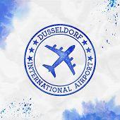 Dusseldorf International Airport Logo. Airport Stamp Watercolor Vector Illustration. Dusseldorf Aero poster
