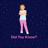 Interesting Question. Pink Text Did You Know With Girl In Interesting Pose On Dark Blue Background D poster