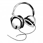 Headphones Sketch. Hand-drawn Black Headphones Sketch, Isolated On White Background. Sketch Style Ve poster