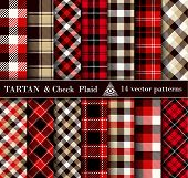 Set Tartan Check  Plaid  Seamless Patterns Backgrounds poster
