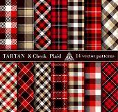 Set Tartan Check  Plaid  Seamless Patterns Backgrounds poster