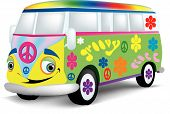 stock photo of hippy  - A very happy van or bus that is painted with the 1960 - JPG