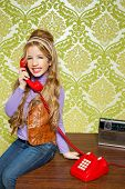 picture of babbler  - kid girl retro hip vintage talking busybody with red telephone - JPG