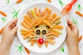 Fun Food Idea For Kids Lunch, Animal Shaped Food Art - Colorful Fusilli Vegetables Pasta With Sandwi poster