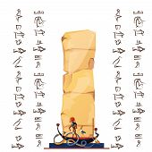 Ancient Egypt Papyrus Cartoon Vector With Hieroglyphs And Egyptian Culture Religious Symbols, Ra, Su poster
