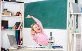Teacher Adorable Woman Try To Relax In Classroom. Just Relax. Find Way To Relax At Workplace. School poster