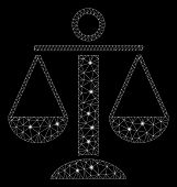 Glowing Mesh Scales Balance With Sparkle Effect. Abstract Illuminated Model Of Scales Balance Icon.  poster