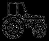 Glossy Mesh Wheeled Tractor With Lightspot Effect. Abstract Illuminated Model Of Wheeled Tractor Ico poster