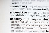 picture of glossary  - The definition of money in a dictionary