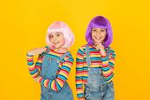Anime Cosplay Party Concept. Happy Little Girls. Anime Fan. Cheerful Friends In Colorful Wigs. Anime poster