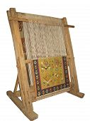 foto of handloom  - Old wooden loom isolated over white background - JPG