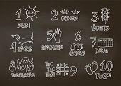 Numbers And Counting Practice Printable Poster, Worksheet For Pre School, Kindergarten Kids. Chalk C poster