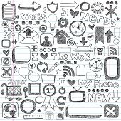 Web / Computer Doodle Icon Set - Back to School Style Sketchy Notebook Doodles Vector Illustration D