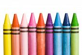 Multicoloured Crayons In A Row And Upright Position Isolated On White poster