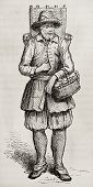 Cheese merchant old engraved portrait. Created by Rocault, published on Magasin Pittoresque, Paris,