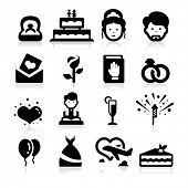 Wedding icons set elegant series