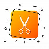 White Scissors Hairdresser Icon Isolated On White Background. Hairdresser, Fashion Salon And Barber  poster