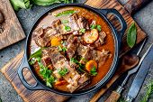 Beef Ribs Bourguignon. Beef Ribs Stewed With Carrot, Onion In Red Wine. France Dish poster
