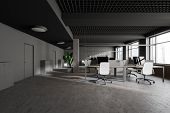 Gray Industrial Style Open Space Office Interior poster