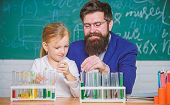 How To Interest Children Study. Fascinating Chemistry Lesson. Man Bearded Teacher And Pupil With Tes poster