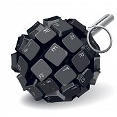 stock photo of grenades  - Black keyboard grenade on white background - JPG