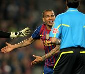 BARCELONA - MARCH, 31: Dani Alves of Barcelona during the Spanish league match against Atheletic Bil