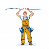 Electrical Outlet And Plug In The Hands Of The Worker. Unplug, Plugged Socket. Vector Illustration S poster