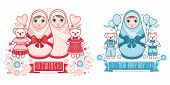 Cute Card For Babies. Delicate Colors. Baby Shower Greeting Card With Babies Boy And Girl. Matryoshk poster