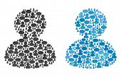 User Mosaics Of Chat Clouds And Men Symbols. Vector Mosaic In Blue Color Hues. Persons And Chat Ball poster