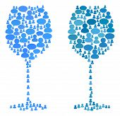 Wine Glass Mosaics Of Chat Clouds And People Symbols. Vector Mosaic In Blue Color Tinges. Persons An poster