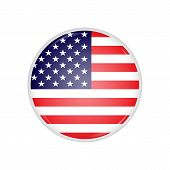 Round Badge With American Flag And Lens Flare On It. American Flag Round Badge With Glares On It. Gl poster