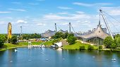 Munich Olympiapark In Summer, Germany. It Is The Olympic Park, Landmark Of Munich. Scenic View Of Fo poster