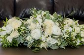 Bridal Bouquet. The Brides Bouquet. Beautiful Bouquet Of White, Blue, Pink Flowers And Greenery, Dec poster