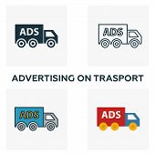 Advertising On Trasport Icon Set. Four Elements In Diferent Styles From Advertising Icons Collection poster