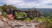 Panoramic View Of Prebischtor Gate (pravcicka Brana), The Biggest Natural Sandstone Arch In Europe.  poster