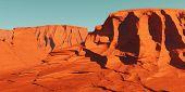 Mars landscape, 3d render of imaginary mars planet terrain, science fiction illustration. poster