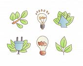 Save Enegry Vector Cartoon Icons. Green Leaves With Bulb, Save The Planet Icon Set. Electricity And  poster