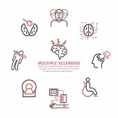 Multiple Sclerosis Banner. Symptoms, Causes, Treatment. Line Icons Set. Vector Signs For Web Graphic poster