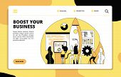 Startup Landing Page. Tech Team Launching Rocket. Boost Your Business, Project Presentation Layout.  poster