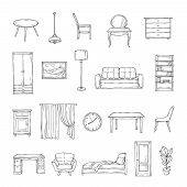 Sketch Furniture. Bookcase And Chairs, Sofa And Table, Wardrobe And Lamp Home Plants. Interior Vinta poster