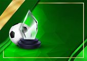 Soccer Certificate Diploma With Glass Trophy Vector. Football. Sport Award Template. Achievement Des poster