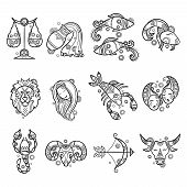 Zodiac Characters. Astrology Horoscope Signs Tattoos Lion Aries Fish Cancer Vector Graphics. Illustr poster