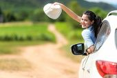 Asian Young Woman Traveler And Tourism Go To Trips Travel On  Hatchback Car To Destination  Leisure  poster