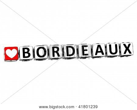 3D I Love Bordeaux Crossword Block Text On White Background