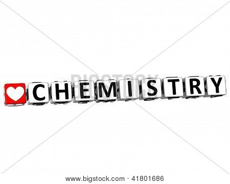 3D I Love Study Chemistry Button Block Text On White Background