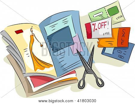 Illustration of Discount Coupons Cut from Magazines