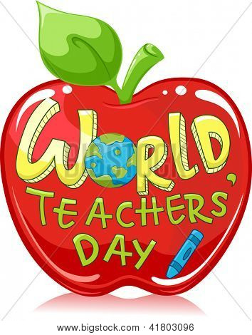 Illustration of a Large Red Apple with the Words World Teachers' Day Written on it
