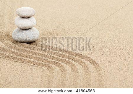 Balance Zen Stones In Sand